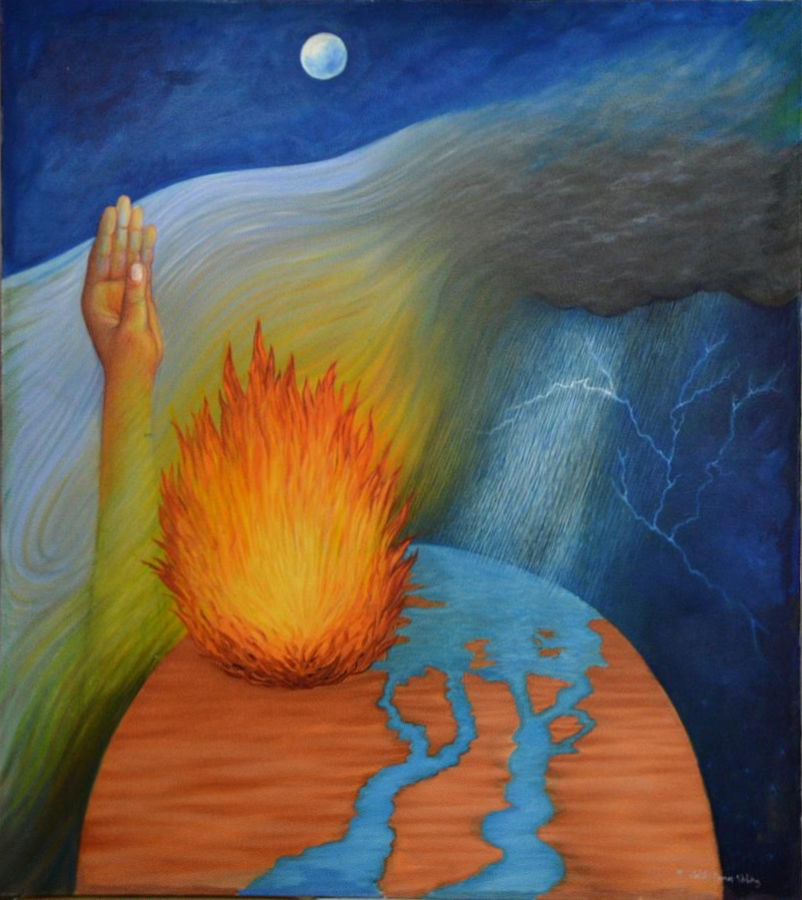 (ilustración: Five Elements Of Life, by Rohit kumar Vohra, Painting - Oil On Canvas)